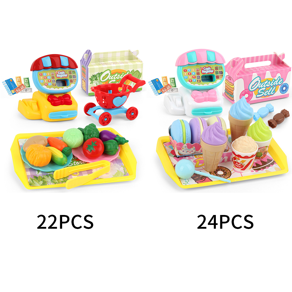 Image 4 - Simulation Cash Register Teaching Educational Mini Supermarket Kids Pretend ABS Toy Set Home Learning Play House ChildrenGroceries Toys   -