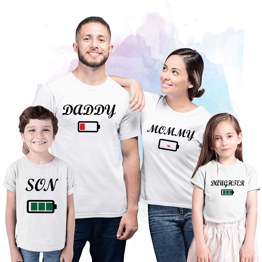 Daddy Mommy Brother Sister Battery White Family Matching Tshirt Children And Parents Family Look Matching Outfits Party Wear