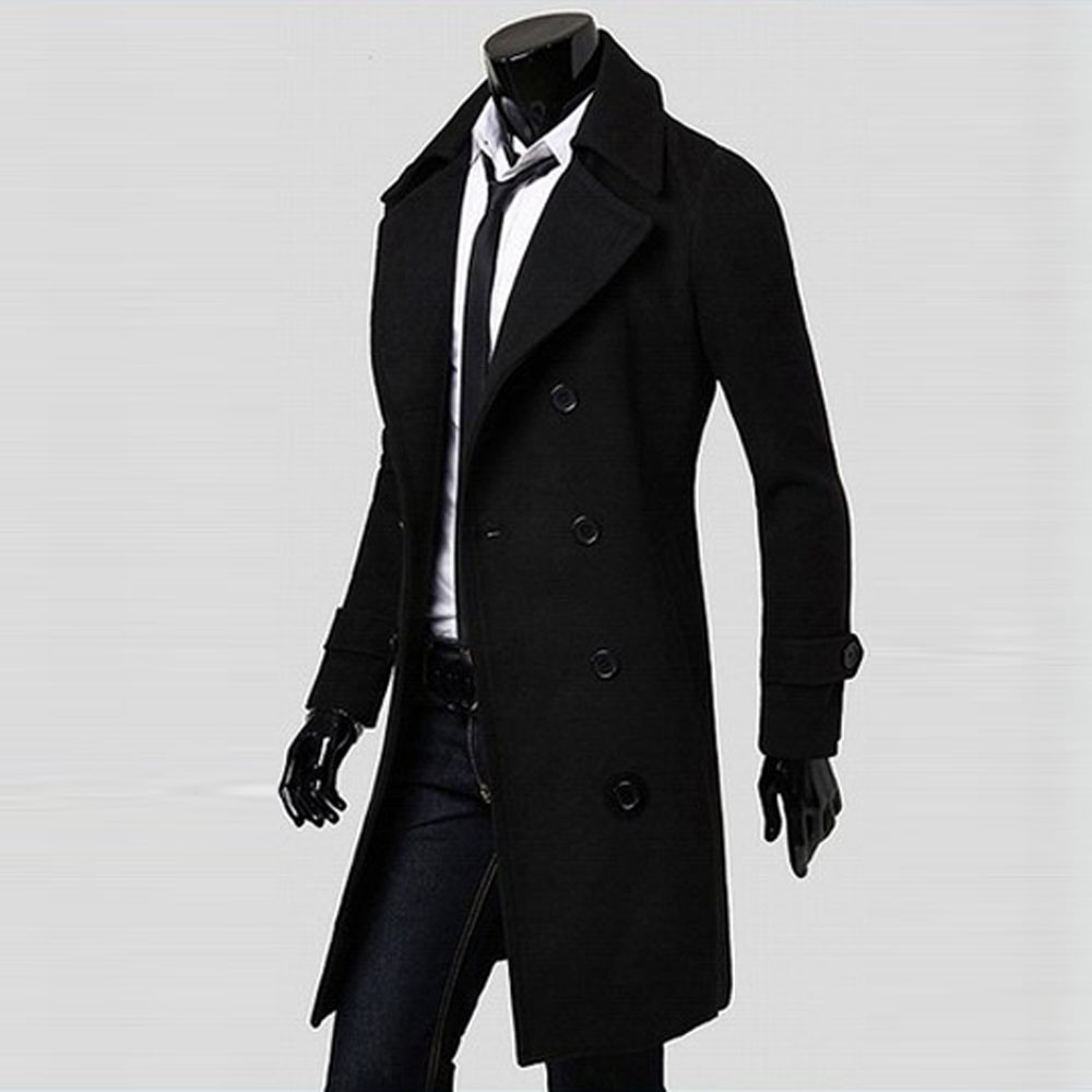 New Men's Coat Winter Slim Stylish Trench Double Breasted Long Jacket Parka BK/M Casual high quality Autumn Mens Tops Blouse