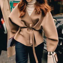 Cashmere Women Jackets Wool Autumn/winter with Belt Tie Curved-Contour