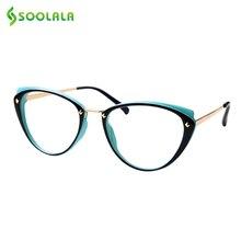 SOOLALA gafas de lectura de aleación con diseño de ojo de gato para mujer, anteojos para leer con luz azul, lentes transparentes para presbicia, 0,5, 0,75, 1,25, 1,5, 1,75 a 5,0