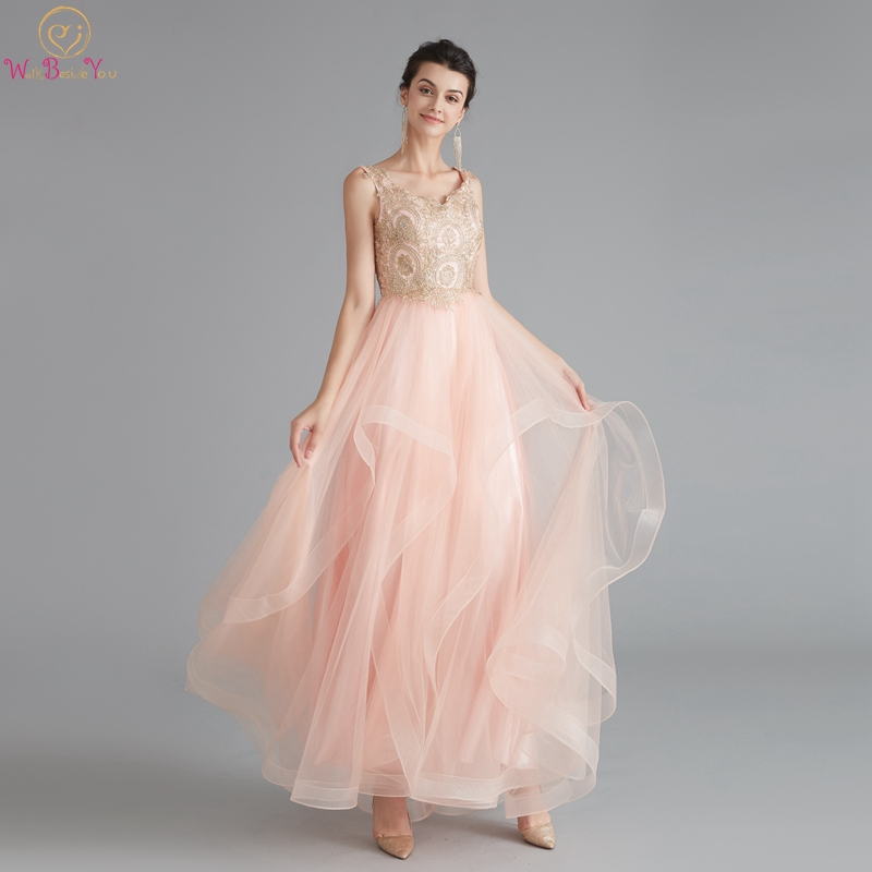 Pink Prom Dresses 2019 Elegant Appliques Ruffles A-Line Vestidos De Gala Stylish Fairy Long Evening Party Gowns Walk Beside You