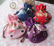 New Embroidery Fish with tail Large Gift Bag Jewelry Packaging Christmas Japan style Cute Coin Purses Chinese Silk Pouch