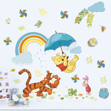 2 шт мультфильм Винни 40*60 см наклейки на стену для детской комнаты домашний декор животных зоопарк Наклейки на стены diy Фреска художественные плакаты