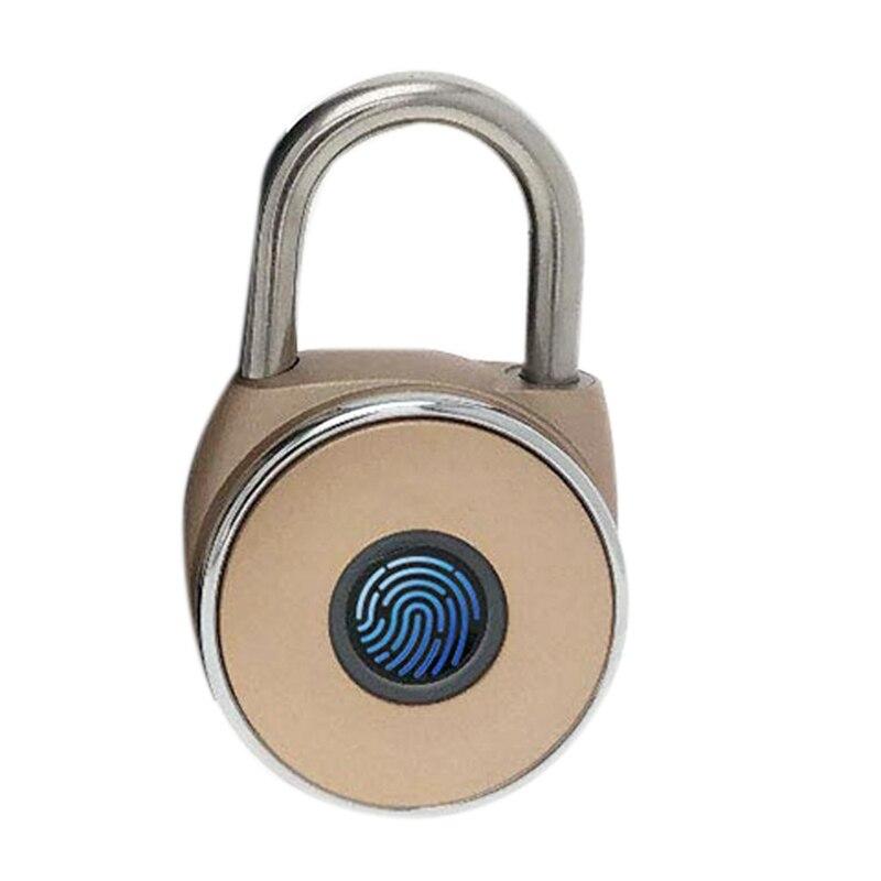 Intelligent Padlock, Fingerprint, Metal Waterproof, Suitable For Home, Suitcase, Backpack, Gym, Bicycle, Office, Usb Charging