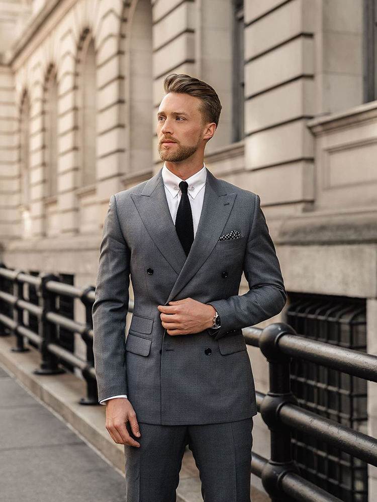 ANNIEBRITNEY Double Breasted Men Business Suit With Pants Slim Fit 2 Piece Tailor Made Peaked Lapel Groom Wedding Tuxedo
