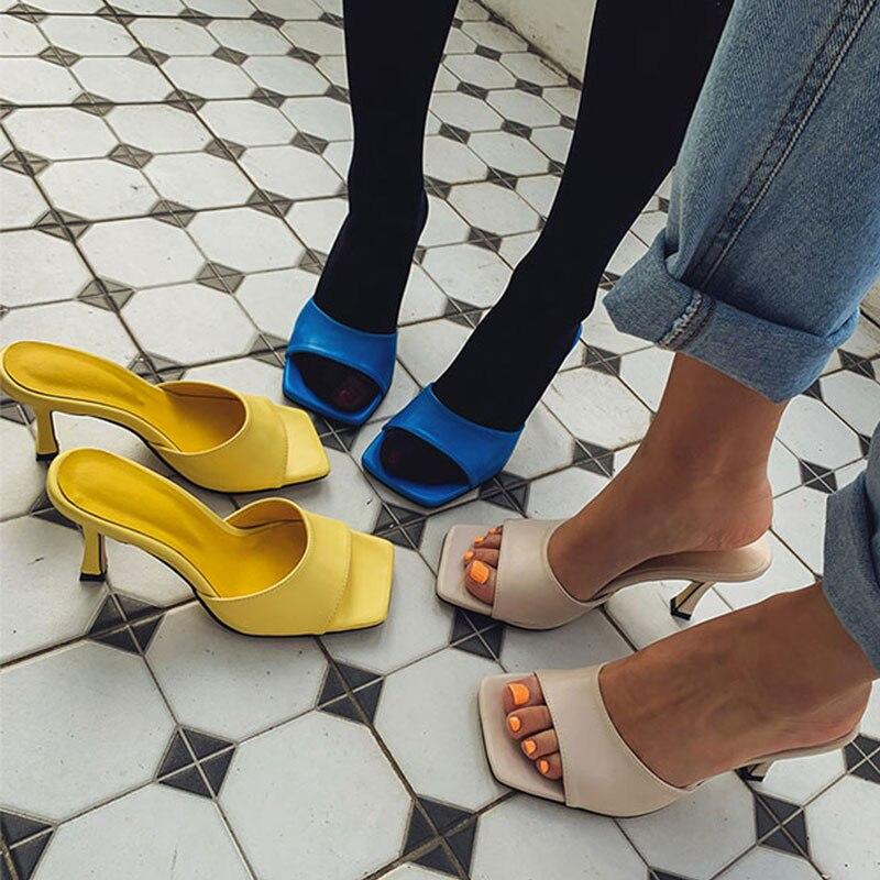 Women's Sandals Spring/summer 2020 New Net Red Black Lettered High Heels Nightclub Sexy Slim Heel Ver