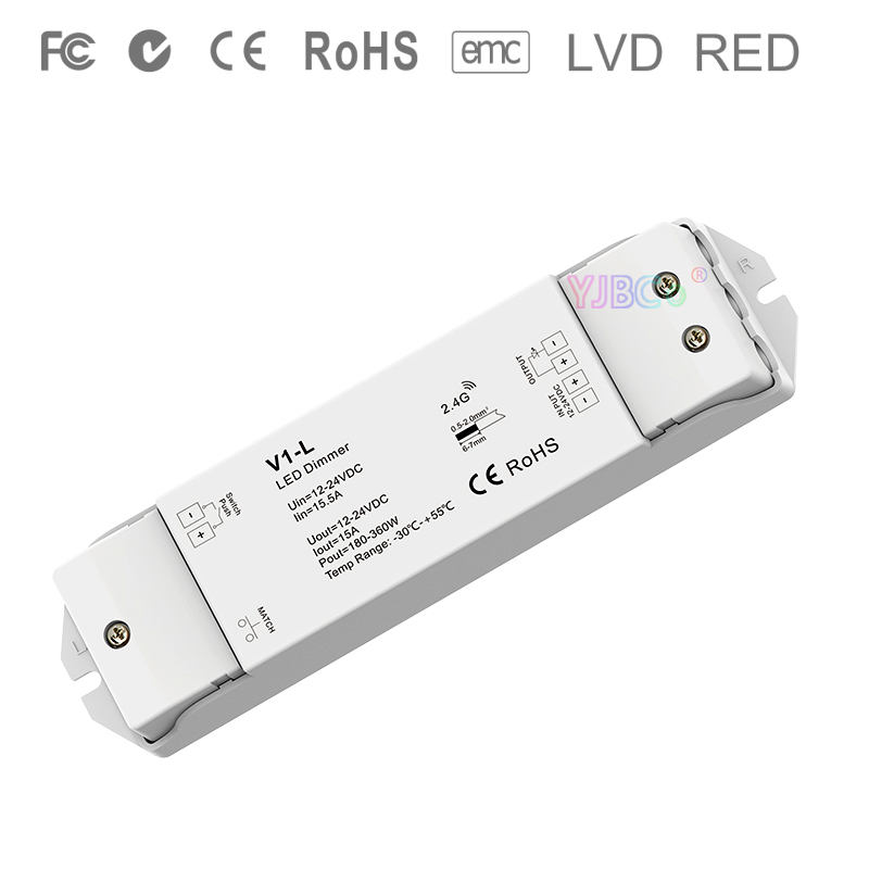 V1 L DC12V 24V 1CH*15A Constant voltage led dimming Controller Push Dim dimmer  for single color 5050 3528 SMD led strip light|RGB Controlers|   - title=