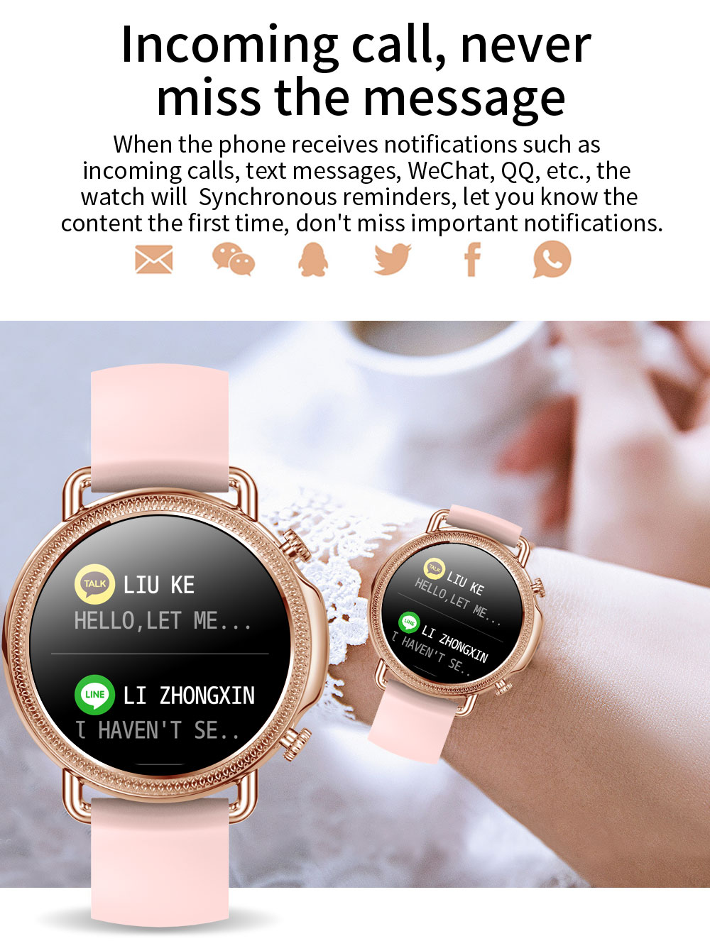 He4c96cf69668401393bc4340a6310190J 2021 Women Smart Watch 1.28 inch HD Screen IP67 Waterproof Lady's Watches Body Temperature Heart Rate Monitor PK V23