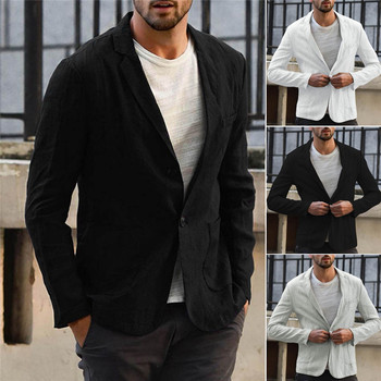 2020 New Arrival Men Blazer Linen Jacket Slim Fit Coat Casual Outwear Single Breasted Male Jacket Coats High Quality plus size