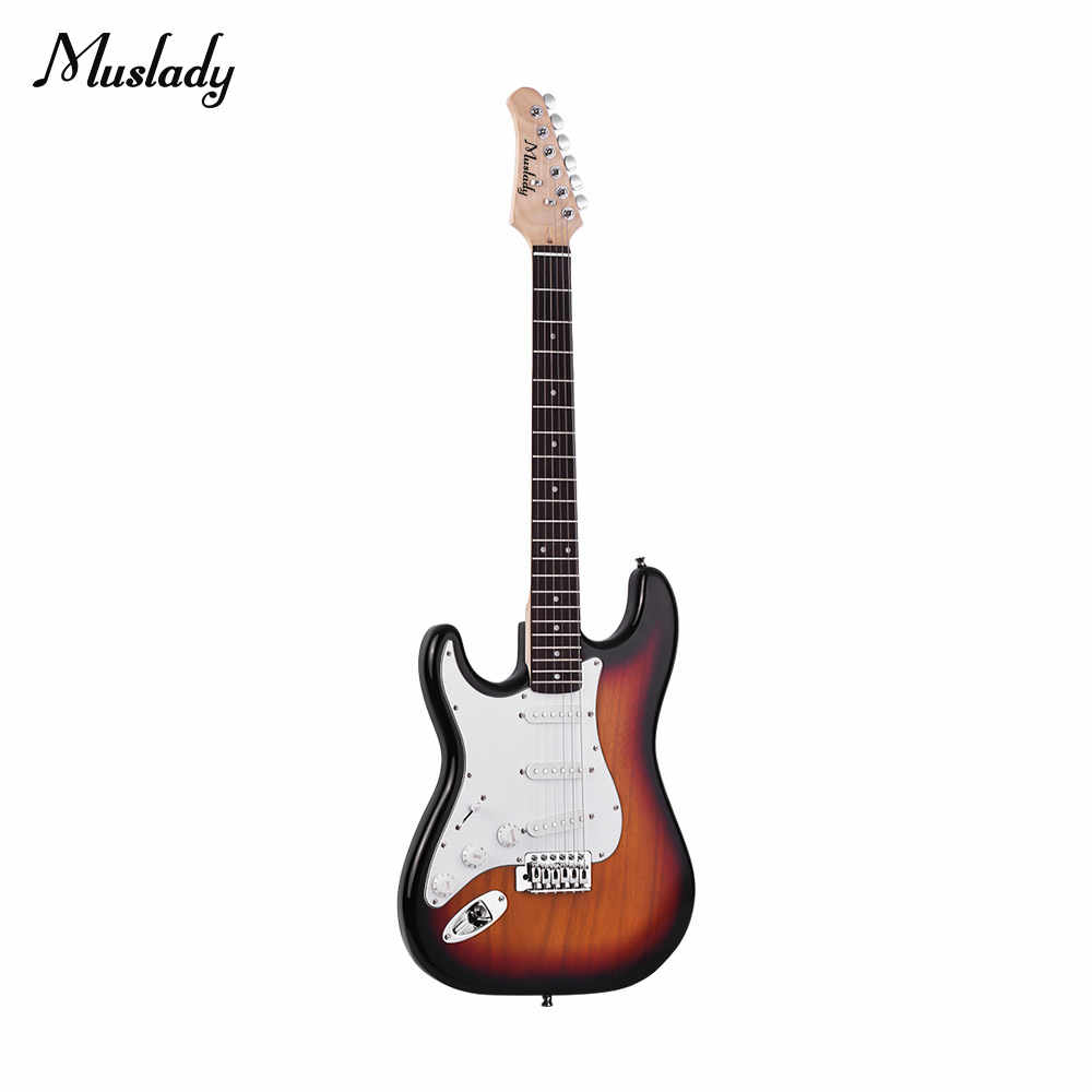 Muslady エレクトリック木製桐ボディメイプルネック 21 フレット 6 文字列スピーカーピッチパイプギターバッグストラップピック