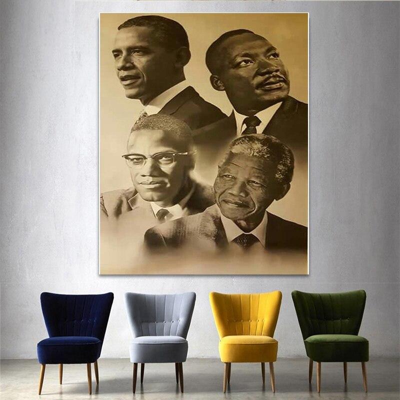 Leinwand Drucken Home Decor Wand Kunst Modulare Bilder Malcolm X Martin Luther König Barack Obama Malerei Nordic Poster Für Schlafzimmer