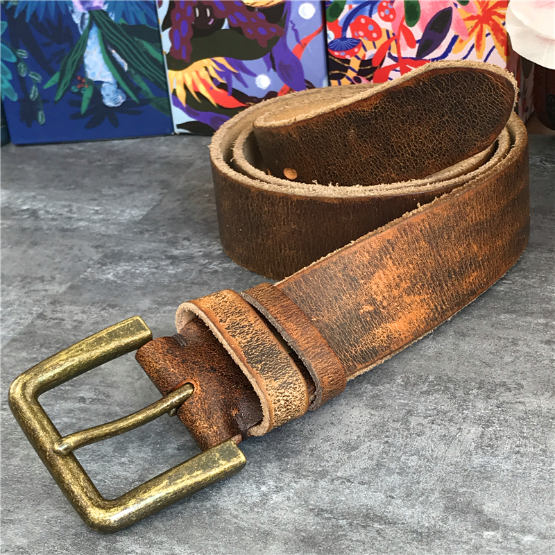 Retro 4.3CM Pin Belt Buckle Luxury Thick Belts Men Leather Vintage Yellow Belt Men Wide Jeans Ceinture Black Waist Belt MBT0019