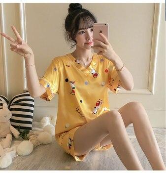 Pijama corto amarillo Oragne de dos piezas con cuello en V y mangas cortas, pantalones cortos, ropa de dormir de seda, ropa de dormir en Stock NW53