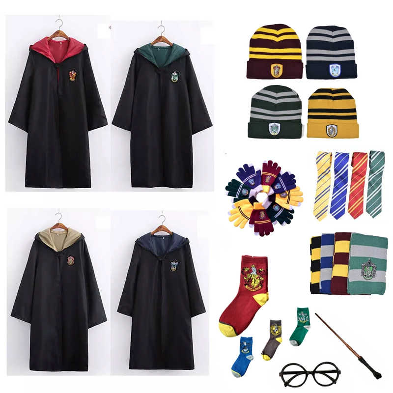 Adulte enfants casquette Version Costume chapeau uniforme Hermione Halloween gants Potter fête Robe Costume Granger Cosplay