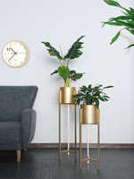 Art Flower Airs Golden Light Luxurious Wind Balcony A Living Room Indoor Landing Type Simple And Easy Green Luo Metal Shelf