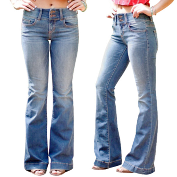 2019 Women's Jeans Casual Slim Stretchy High Waist Jeans Fashion Long Flare Denim Pants Trousers For Women