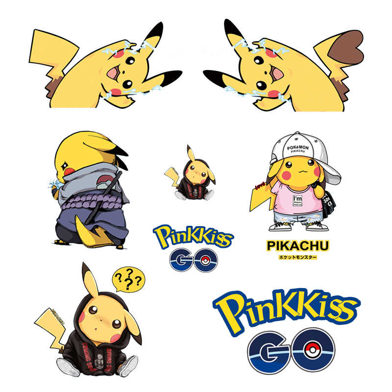 Anime Pokemon Patch Iron on Transfer Letter Pikachu Patches for Kids Clothing DIY Shirt Applique Ironing Stickers Thermal Press