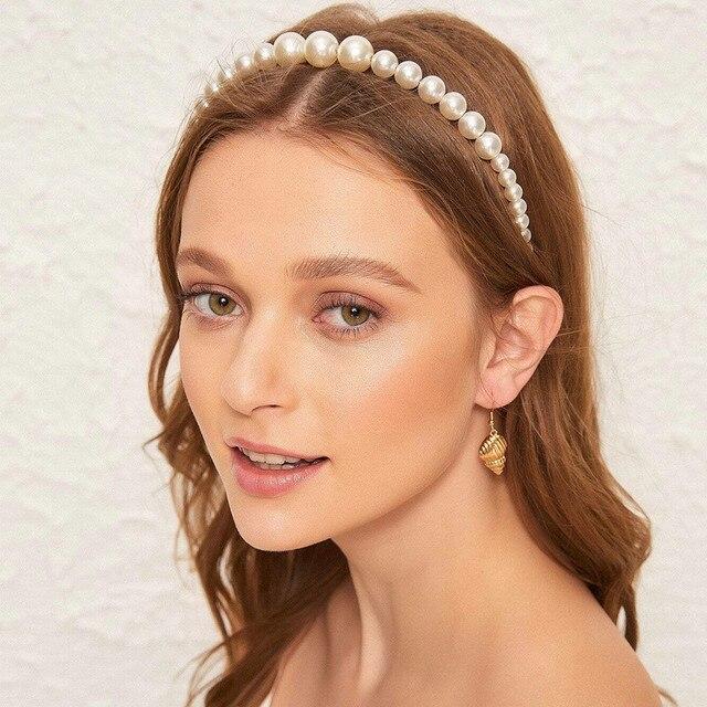 New Women Elegant Full Pearls Simple Hairbands Sweet Headband Hair Hoops Holder Ornament Head Band Lady Fashion Hair Accessories 2