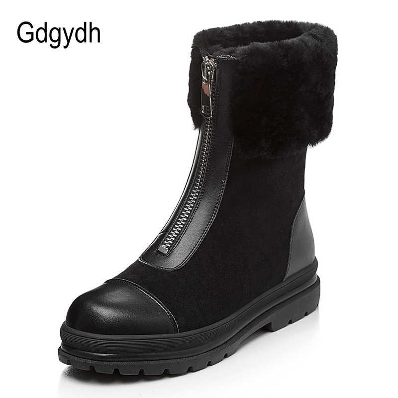 Gdgydh Natuurlijke Bont Vrouwen Laarzen Echt Leer Suede Kwaliteit Goede Warme Winter Schoenen Rusland Pluche Binnenkant Lage Hak Comfortabele Nieuwe