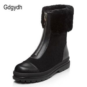 Image 2 - Gdgydh bottes en fourrure naturelle pour femmes, cuir véritable, suède, bonnes chaussures dhiver chaudes, en peluche russe à lintérieur, talon bas, confortables, nouvelle collection