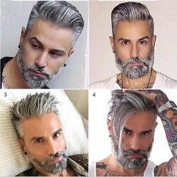 Bymc cinza durável peruca masculina rendas & pu fina peruca de pele preta marrom indiano remy cabelo substituição colorido peruca