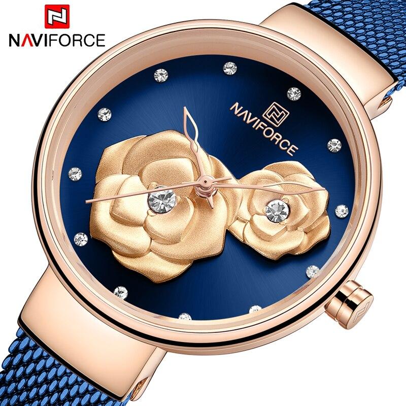 NAVIFORCE Women's Wristwatches Luxury Crystal Stylish Double Flower Dial Ladies Bracelet Quartz Clock Fashion Wrist Watch 2019
