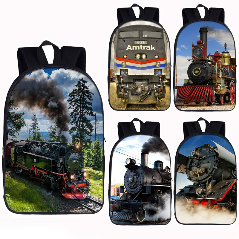 Locomotive / Steam Train Backpack For Teenager Girls School Bags Women Rucksack Men Travel Backpack Student  Bag Kids Bookbag