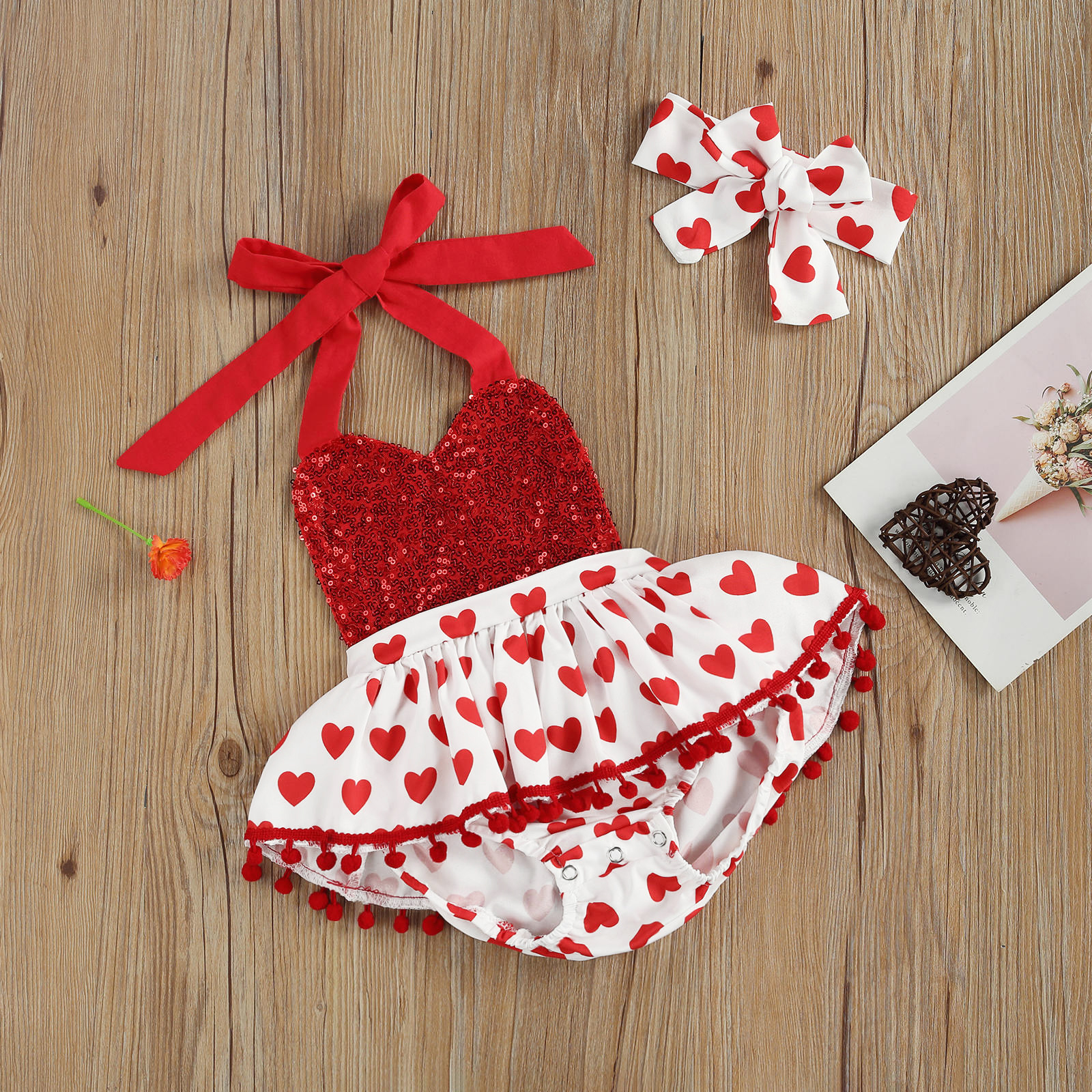 2pcs 0-24m  Newborn Baby Girls Clothes Set Outfits,  Sleeveless Love Pattern  V-Neck Pompom Sequin Halter Romper + Headband Set