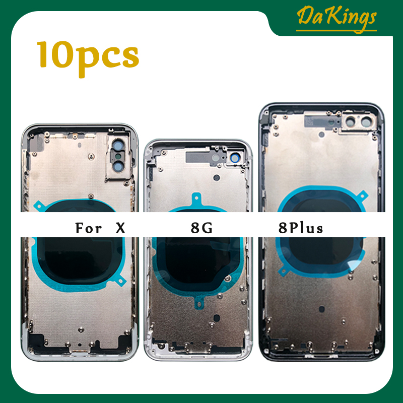 10Pcs Replacement For iphone 8 Plus X 8P XR XS MAX 8G Back Middle Frame Chassis Full Housing Assembly Glass Battery Cover door