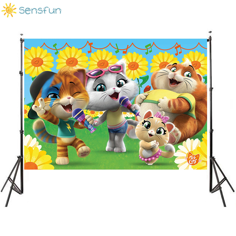 Sensfun Cartoon 44 Cats Backdrop Sunflower Music Children Birthday Theme Party Photography Background Photo Booth Props Studio image