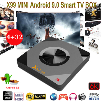 X99 Mini Quad Core 64-bit Android 9.0 Smart Wifi Connected TV Box 4GB 32GB 6k HD Multiple Language Video Support Set Top Box