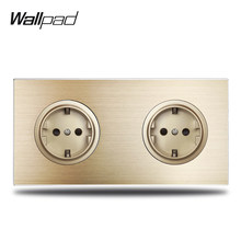 Wallpad – Double prise de courant électrique allemande L6 Schuko EU, panneau métallique en aluminium brossé or 172x86mm