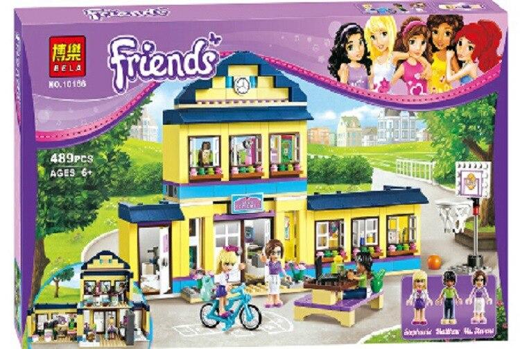 489pcs Compatible Legoinglys Friends Heartlake High Performance School Stephanie 10166 Model Building Block Princess Toys Bricks
