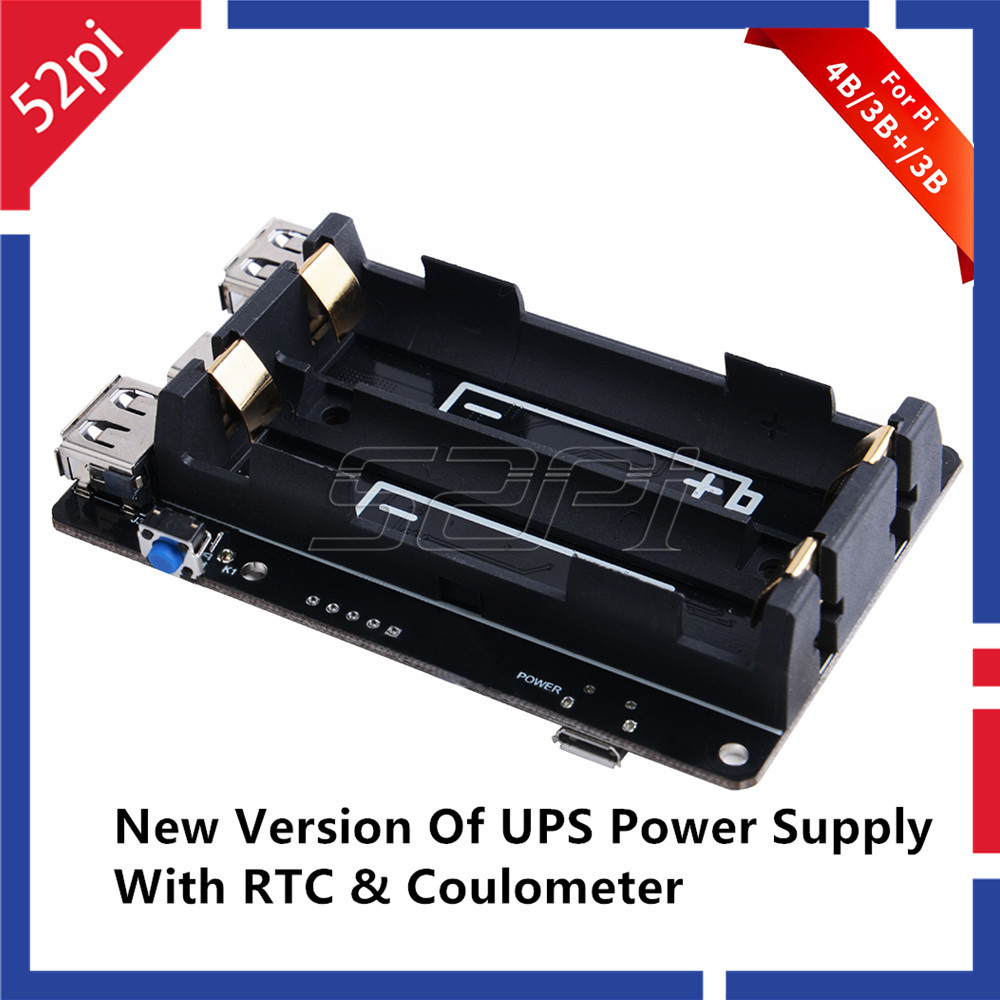 52Pi Original 18650 UPS With RTC & Coulometer Pro Power Supply Device Extended Two USBA Port For Raspberry Pi 4 B / 3B+/ 3B