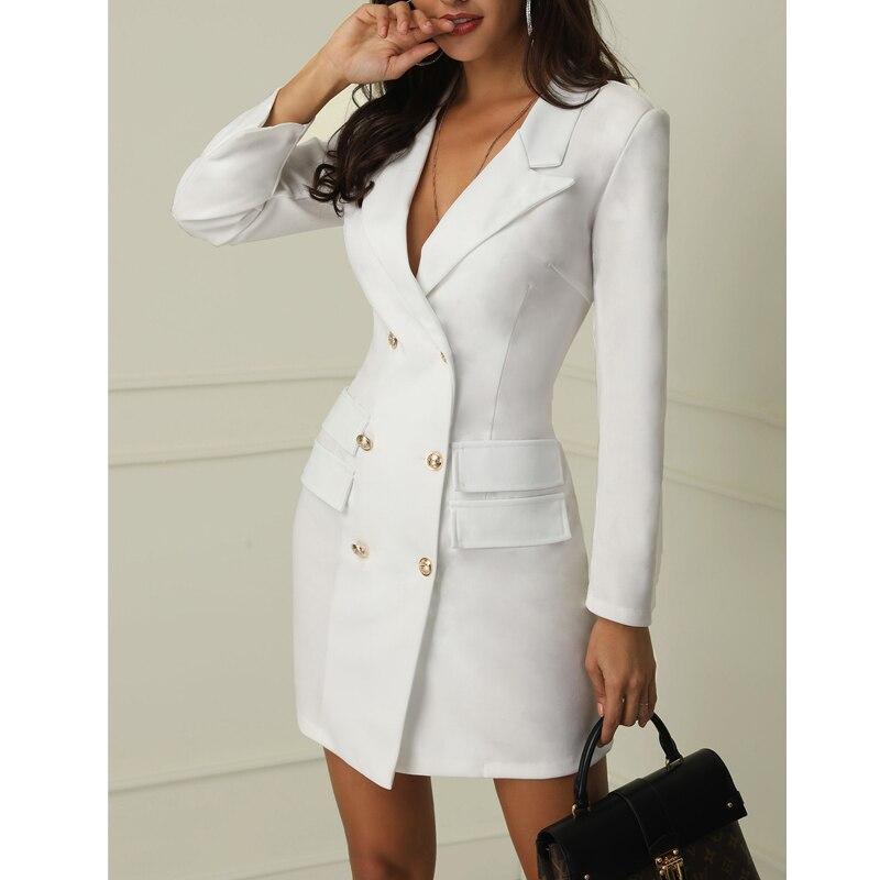 1PC Women OL Office Double Breasted Long Sleeve Tuxedo Dress Bodycon Slim Mini Dress Formal Women Blazer Social Clothing