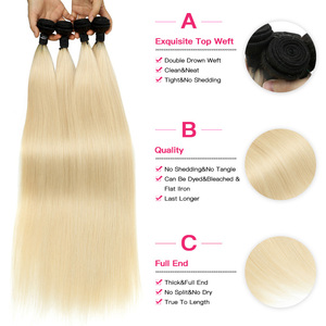 Image 3 - Facebeauty 1B/613 Honey Blonde Brazilian Straight Remy Human Hair 3 Bundles with Lace Closure,Blonde Ombre Bundles with Closure