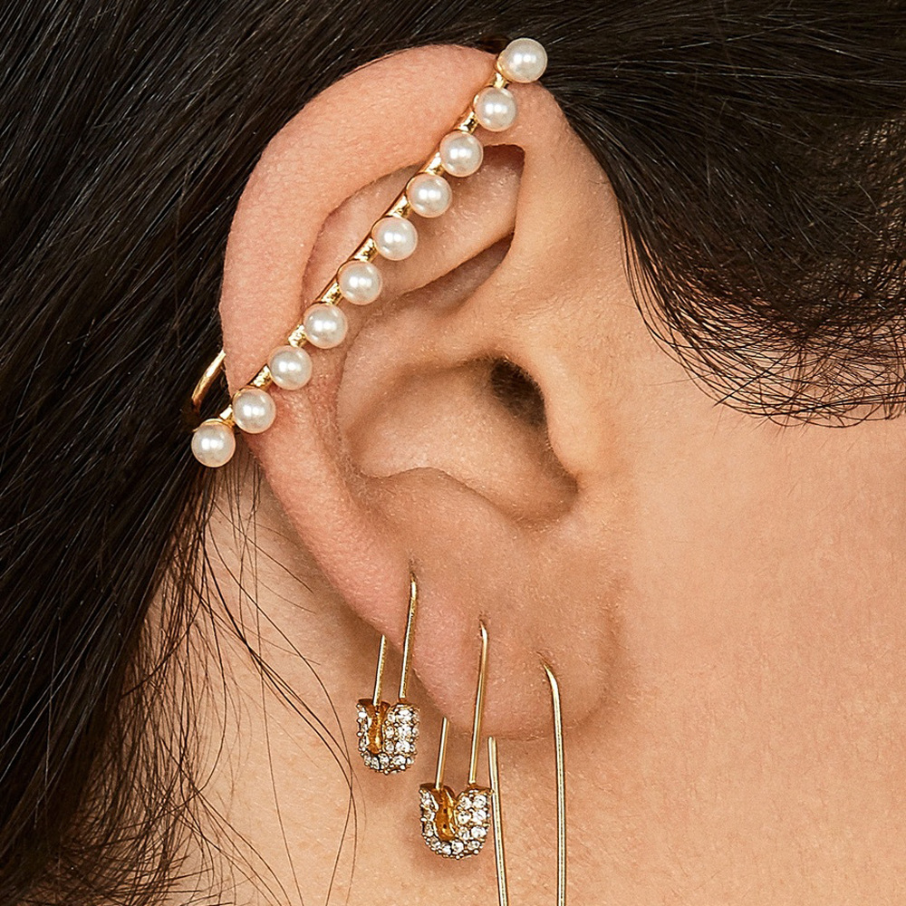 Single White Pearl Ear Clip on Earrings Flat Geometric Korean Fashion Without Piercing Button Cuff Jewelry