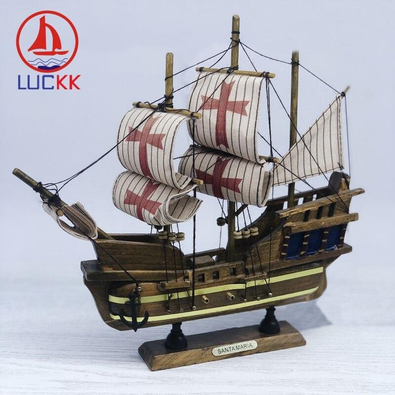 LUCKK 24CM Handmade Retro SantaMaria Ships Model Mediterranean Home Interior Decor Wood Crafts Classic Room SailBoat