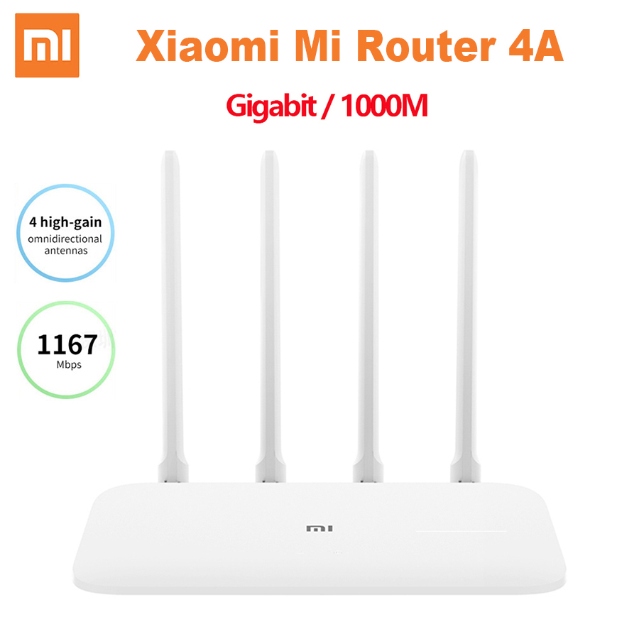 Xiaomi Mi Router 4A Gigabit Edition 1000M 2.4GHz 5GHz WiFi ROM 16MB DDR3 64MB 128MB High Gain 4 Antennas Remote APP Control