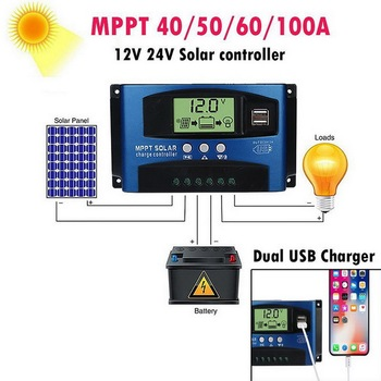 Solar MPPT 100A 60A 50A 40A 30A Charge Controller Dual USB LCD Display 12V 24V Solar Cell Panel Charger Regulator with Load epsolar tracer 4215bn 40a 12v 24v new tracer 40 amps mppt solar charge controller regulator with mt50 remoter meter or wifi ebox