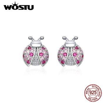 WOSTU 100% Plata de Ley 925 mariquita circonita Rosa pendientes de plata 925 joyería para mujer pendientes de boda joyería CQE715