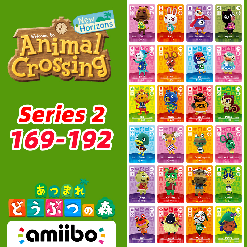 169-192 Animal Crossing New Horizons Amiibo Card Villagers Card With Julian/Ruby/Pecan/Drift/Vesta/Pango Series Card 2
