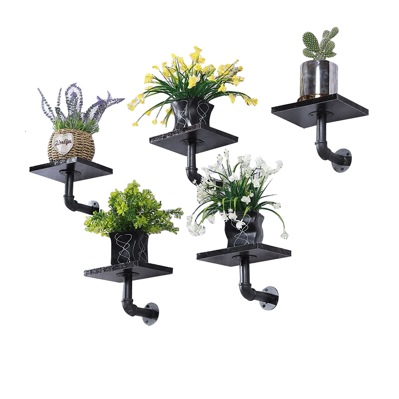 Flower Rack Wall Hanging Multi-storey Writing On The Blackboard Frame Water Pipe A Living Room One Word Shelf Flowerpot Frame