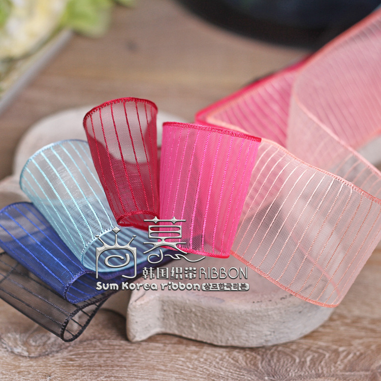 100yards 25mm 38mm horizontal stripes organza sheer ribbon for bouquet flower gift packing package bow party craft supplies in Ribbons from Home Garden