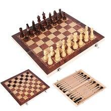 Novo design 3 em 1 xadrez de madeira backgammon damas jogos de viagem tabuleiro xadrez conjunto draughts entretenimento presente natal i64