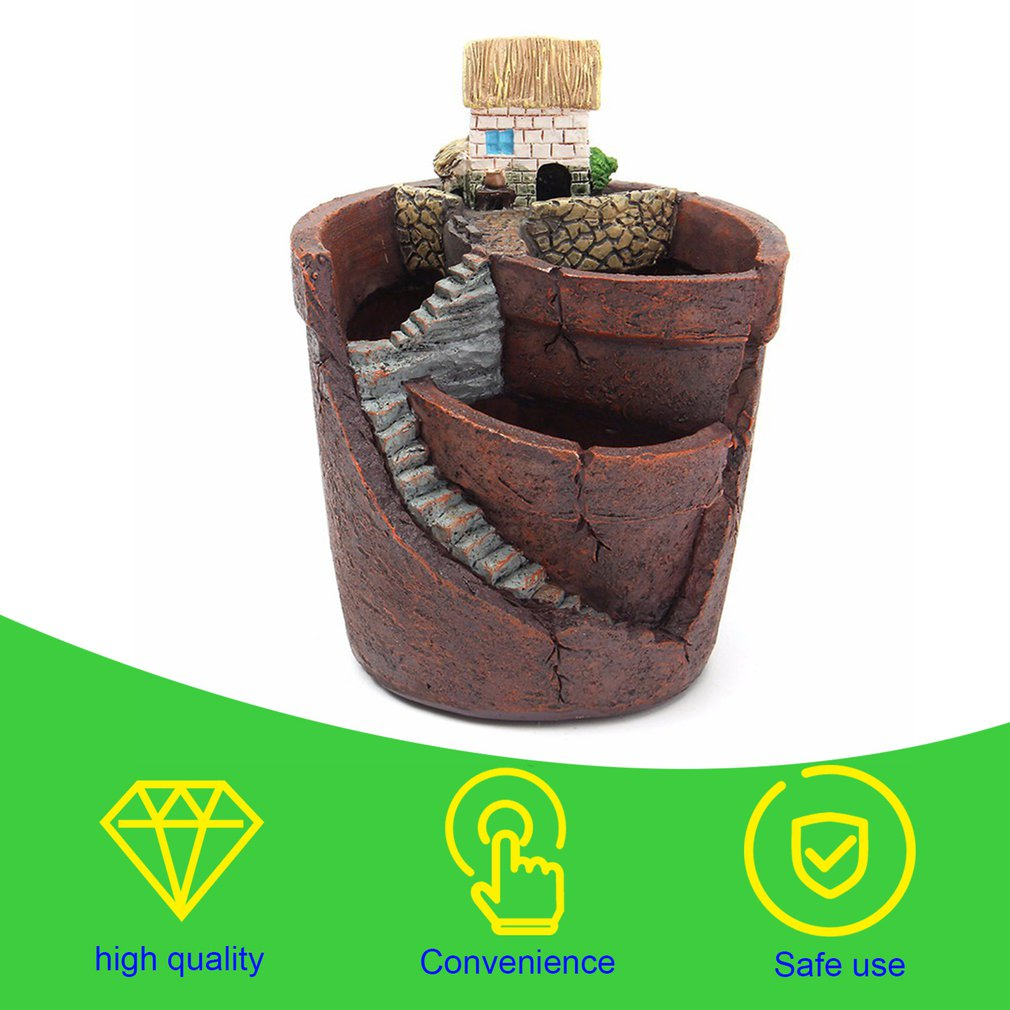 Creative Plants Pot With City Of Sky Flowerpot Combination Resin Succulent Plant Pot Flower Basket Planter Pot