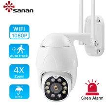 SANAN automatyczne śledzenie IP kamery PTZ WIFI bezprzewodowy do drzwi na zewnątrz IP67 25 metrów pełny kolor Night Vision 1080P kamera kopułkowa monitoringu CamHi Pro