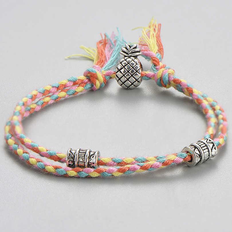 Unikalny tybetański zawieszka srebrna ananas bransoletki dla kobiety mężczyźni w stylu Vintage wielowarstwowe pleciony Wrap bransoletka przyjaciel prezenty