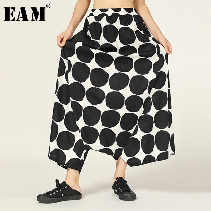 [EAM] High Elastic Waist Trousers New Loose Irregular Fit Dot Print Pockets Harem Pants Women Fashion Spring Autumn 2019 JZ335